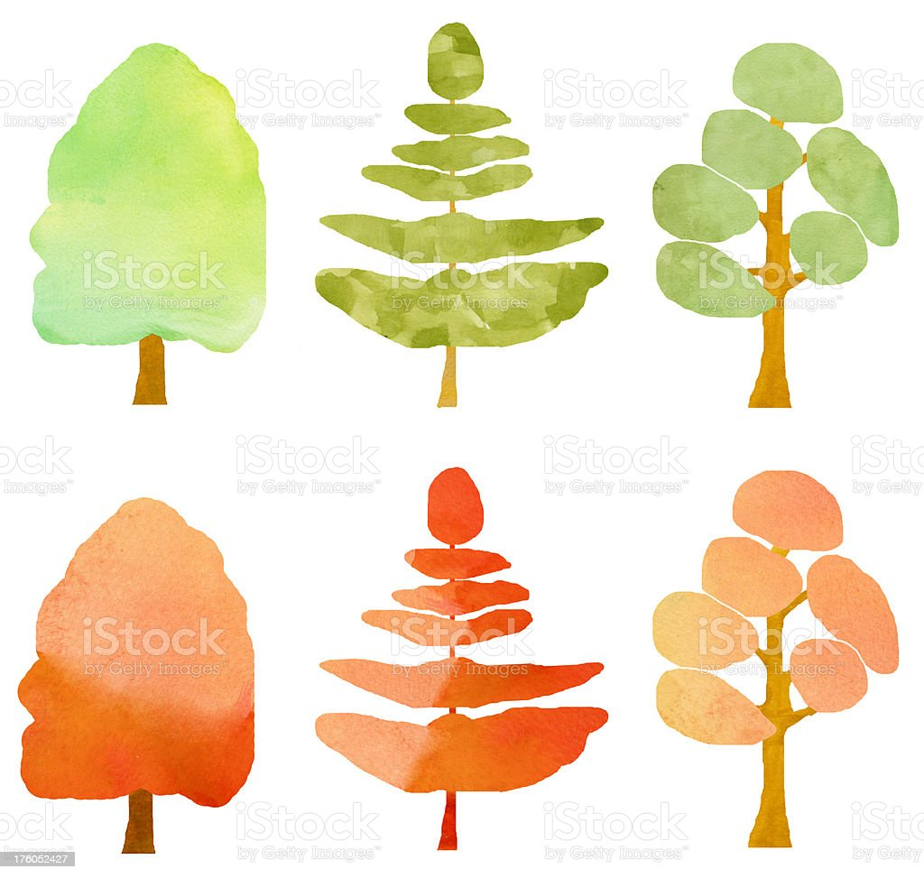 Watercolour Trees Collection royalty-free stock photo