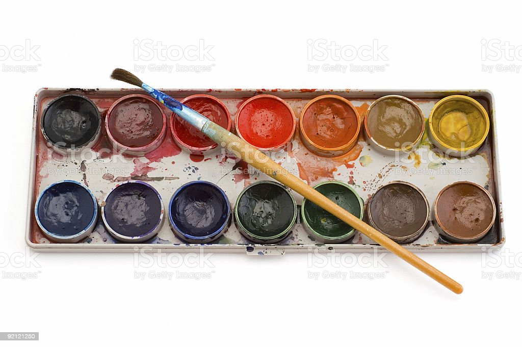 watercolours paint with brush royalty-free stock photo