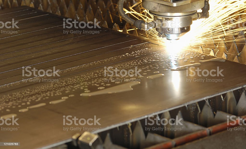 Water-cooled laser metal cutting head stock photo