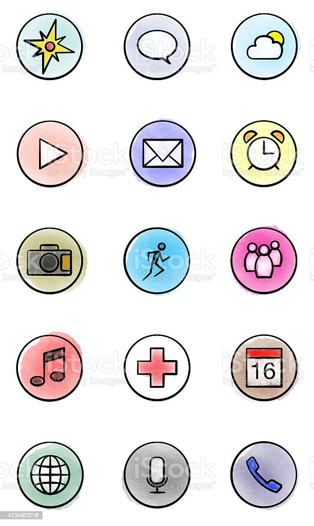 Watercoulor Illustration of Application Icons stock photo