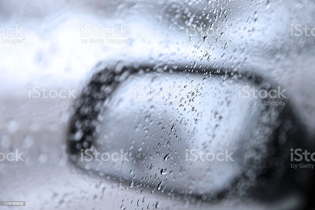 waterdrops on car window ,driver`s side stock photo