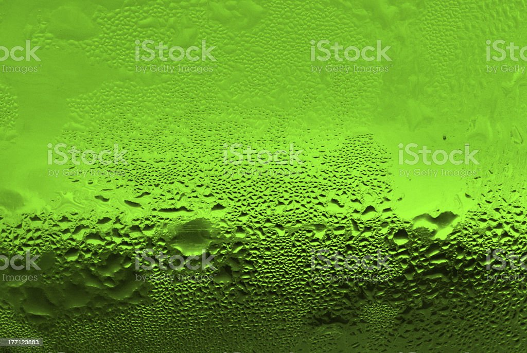 waterdrops on green glass royalty-free stock photo