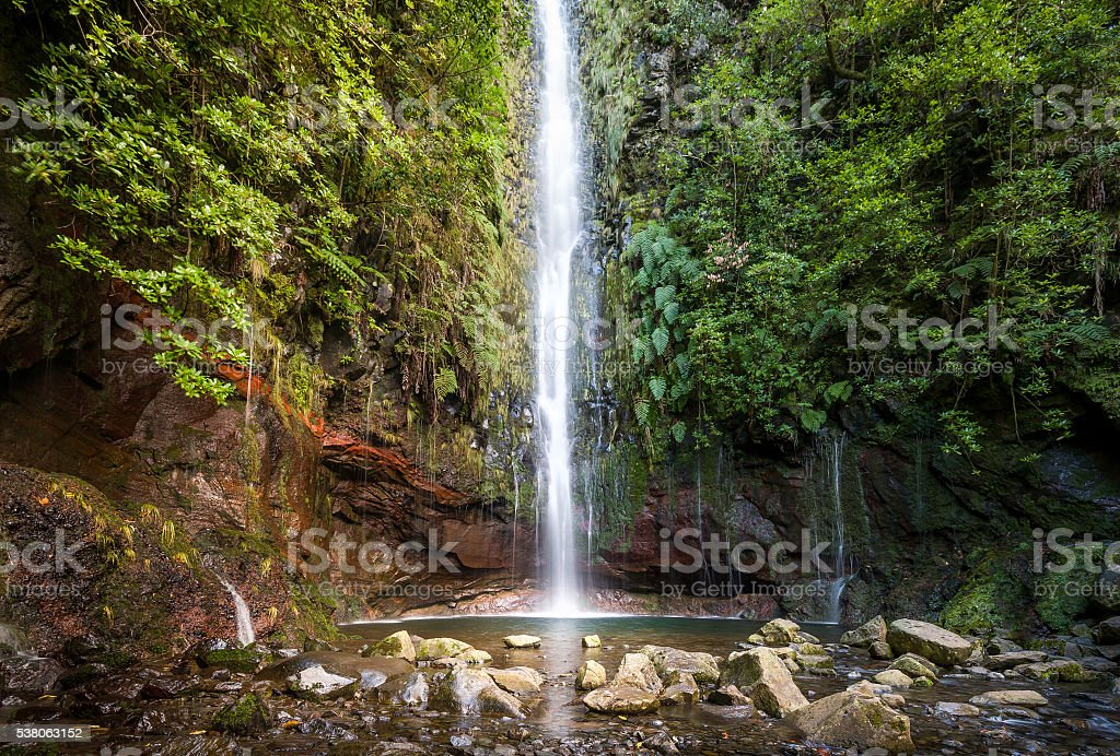 Waterfal at levada walk 25 fountains, Madeira island stock photo