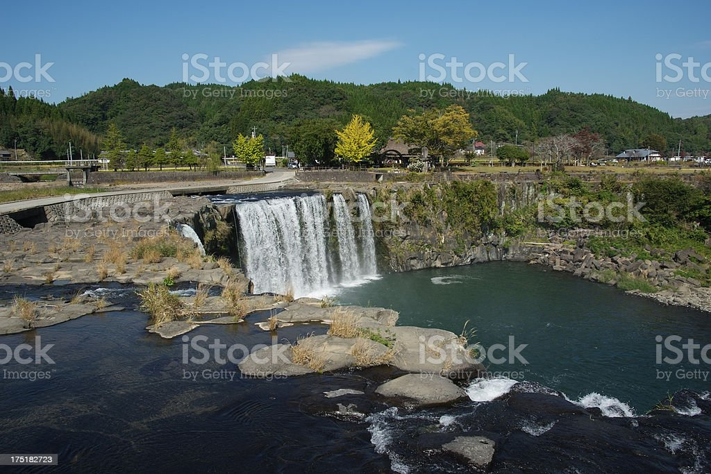 Waterfall against clear sky royalty-free stock photo