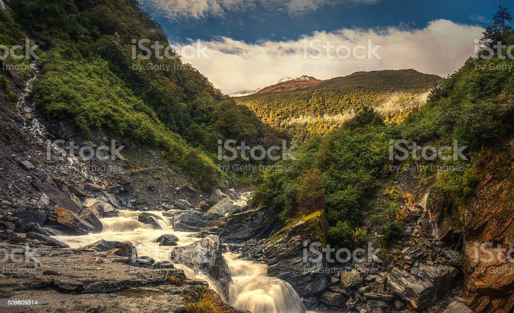 Waterfall Along Haast Pass, West Coast, South Island, New Zealand stock photo