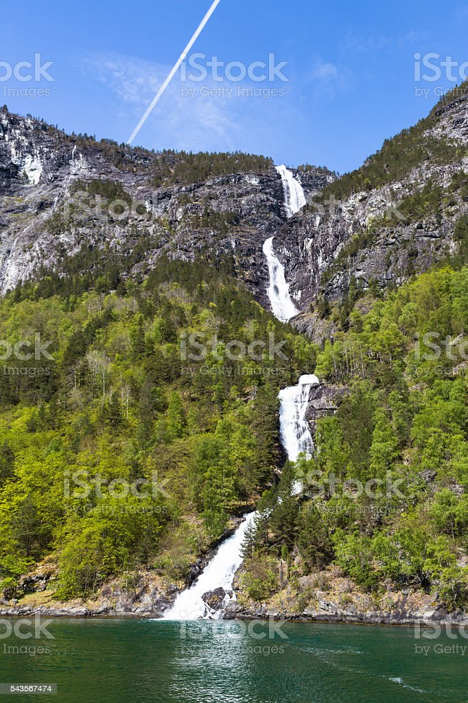 Waterfall  along the Sognefjord in Norway stock photo