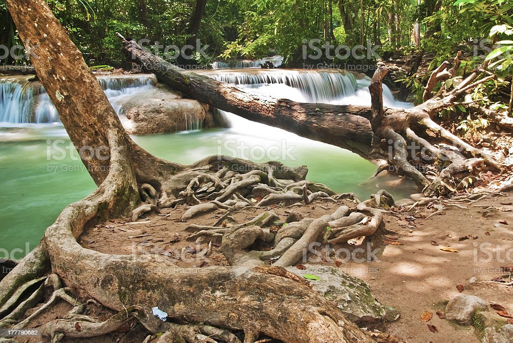 Waterfall and blue stream in the forest Thailand royalty-free stock photo