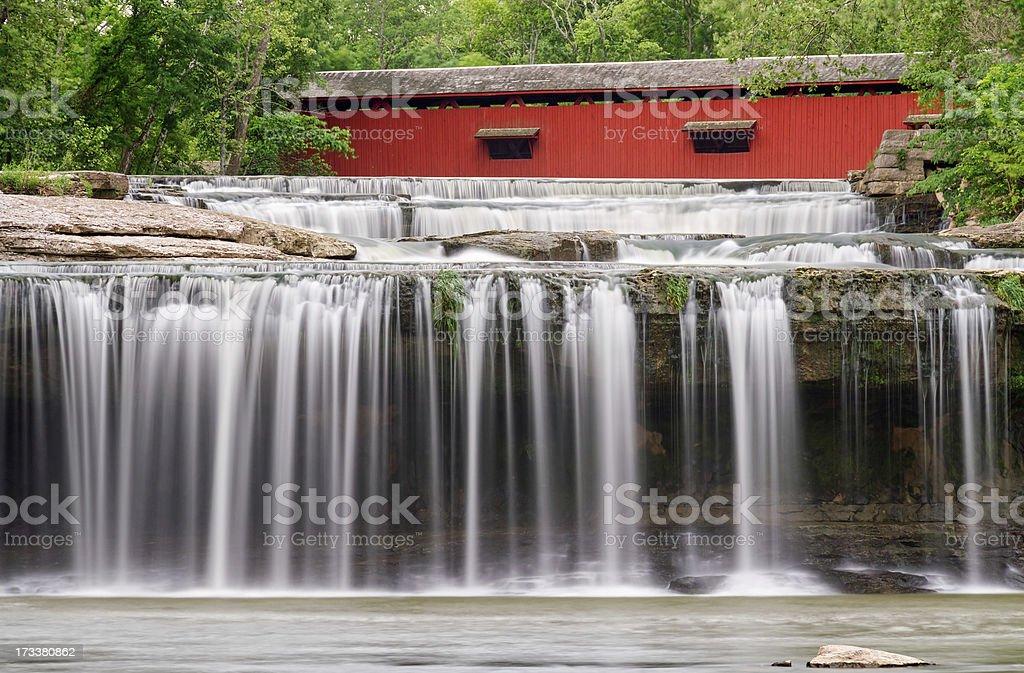 Waterfall and Covered Bridge stock photo