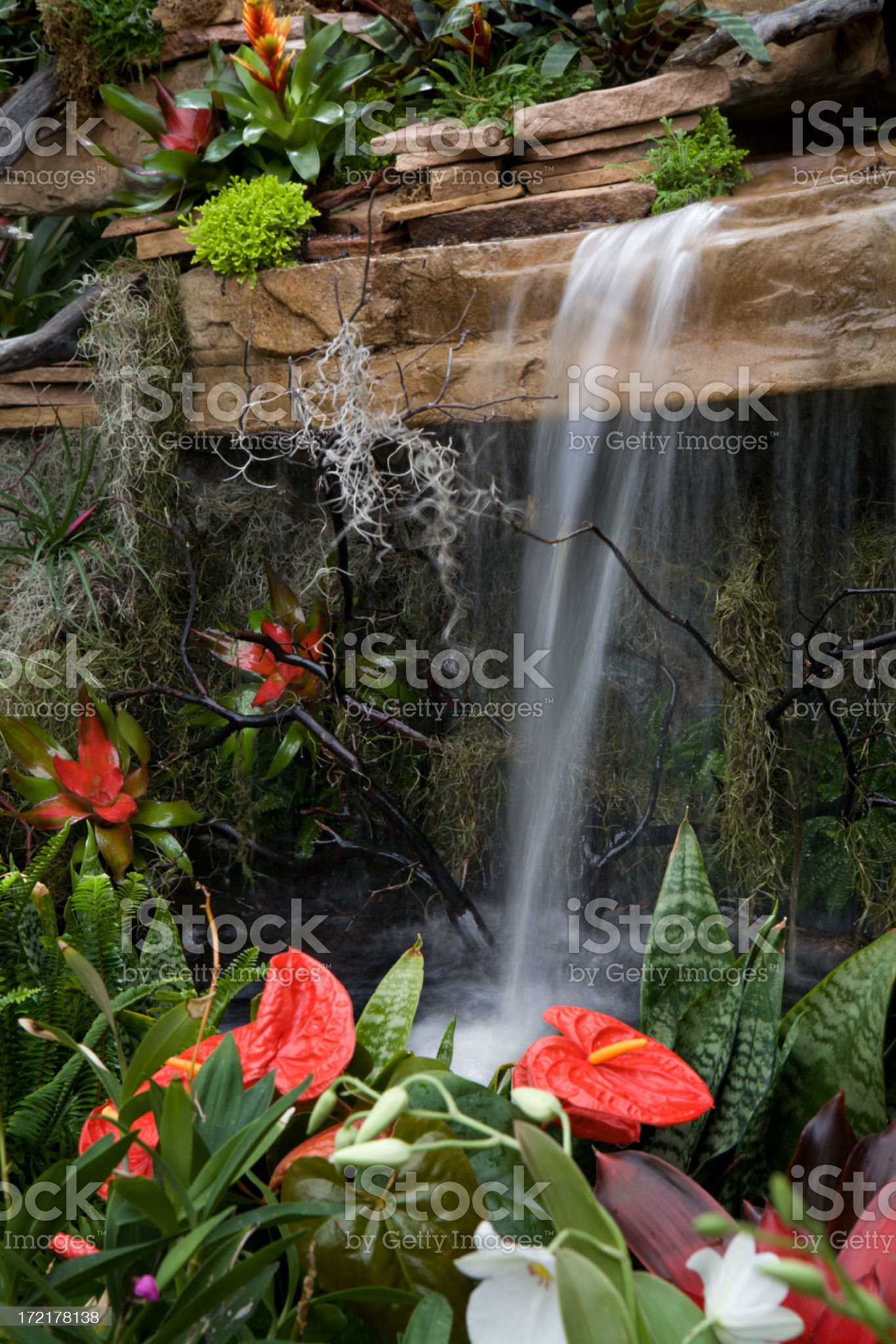 Waterfall and Garden royalty-free stock photo