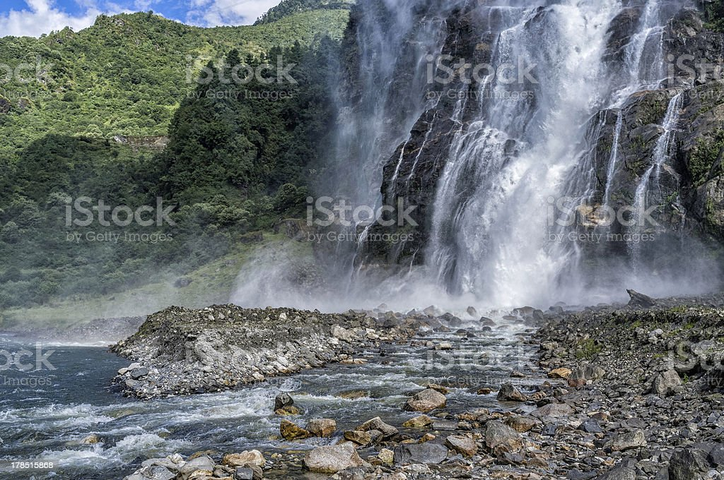 Waterfall and Kameng river, Tawang, Arunachal Pradesh, India. stock photo