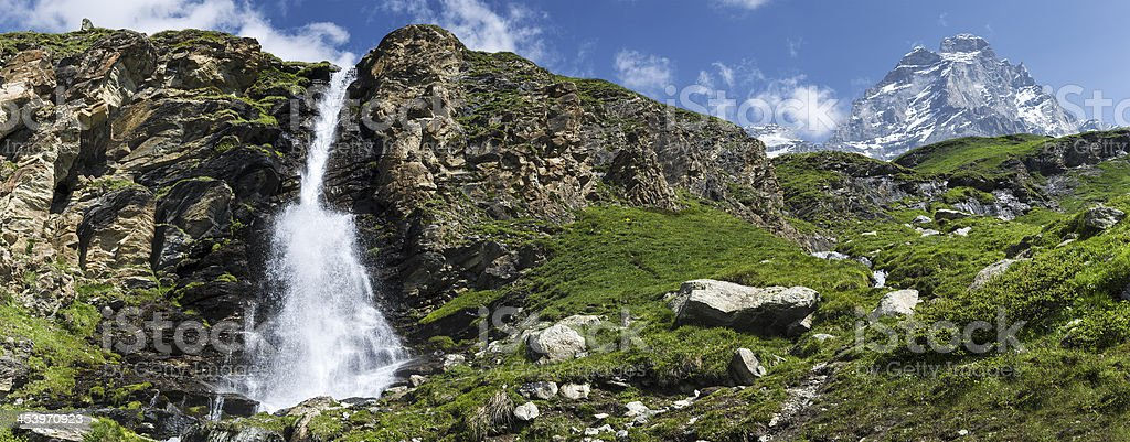 Waterfall and Mount Cervino, Valtournenche stock photo