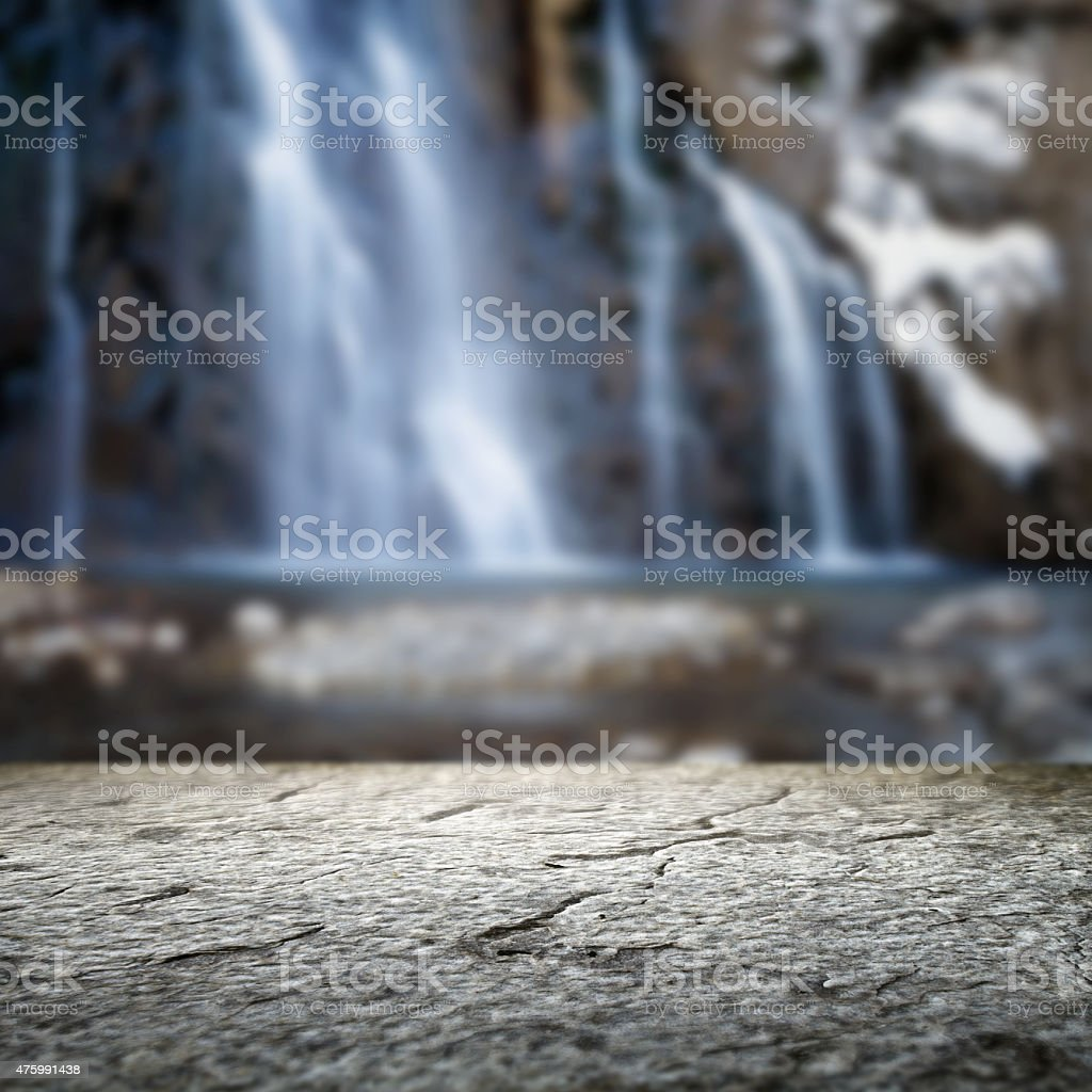 Waterfall and mountain stream stock photo