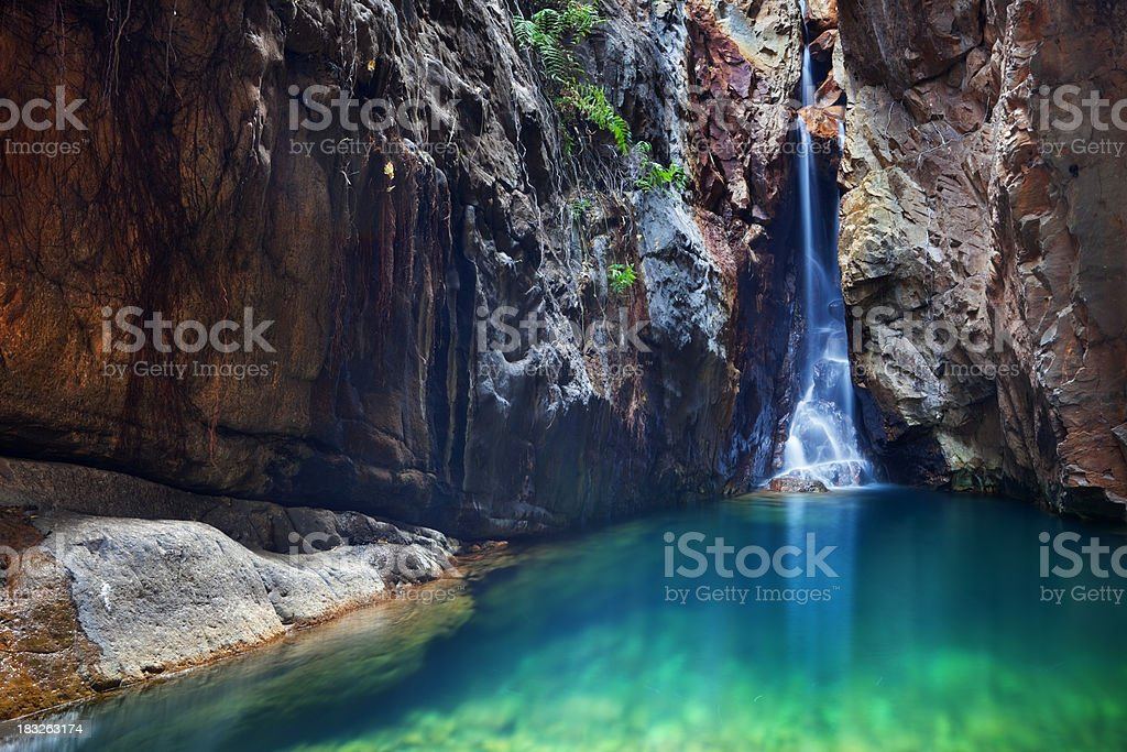 Waterfall and plunge pool in El Questro Gorge, Western Australia stock photo