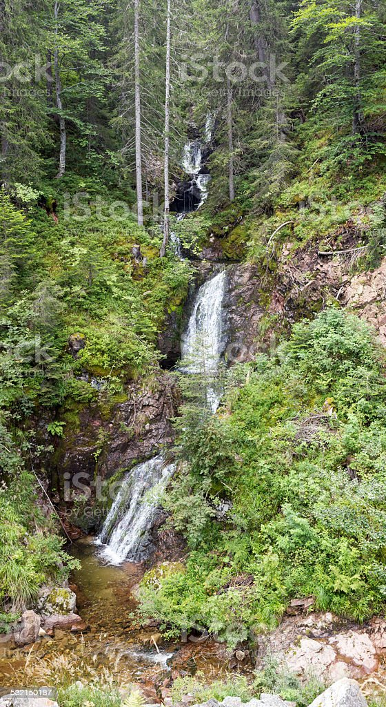 Waterfall and small river in Rhodopes Mountain stock photo