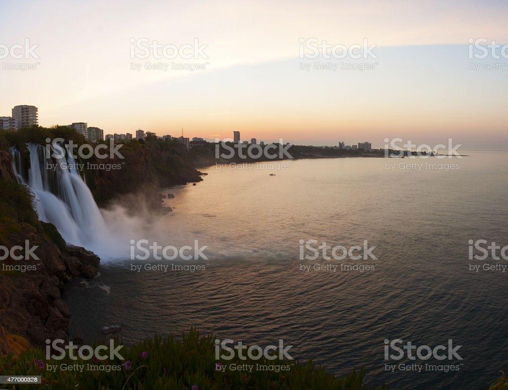 waterfall and sunrise stock photo