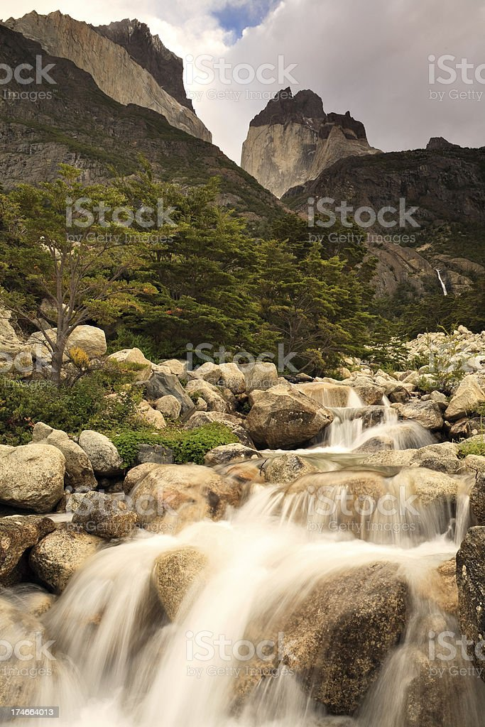 Waterfall at Cuernos del Paine royalty-free stock photo