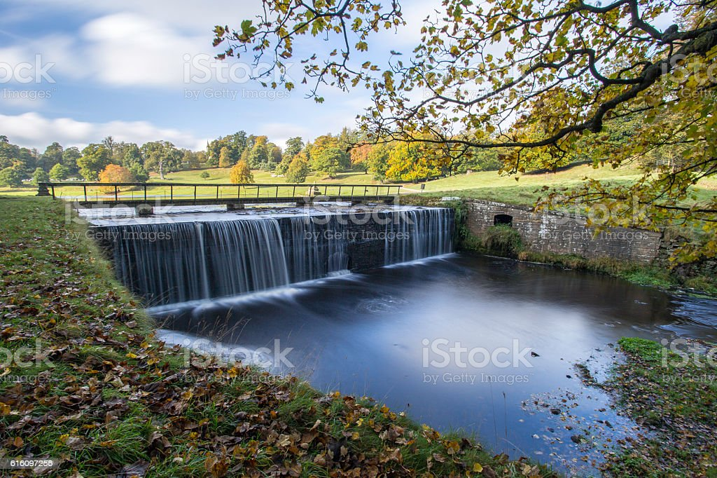 Waterfall at Fountains Abbey. stock photo
