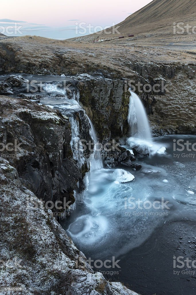Waterfall at Grundarfjordur in winter, Snaefellnes, Iceland stock photo