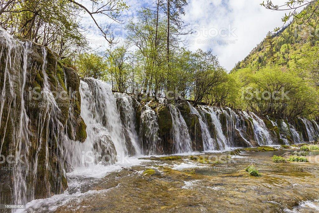 Waterfall at Jiuzhaigou, Sichuan, China stock photo