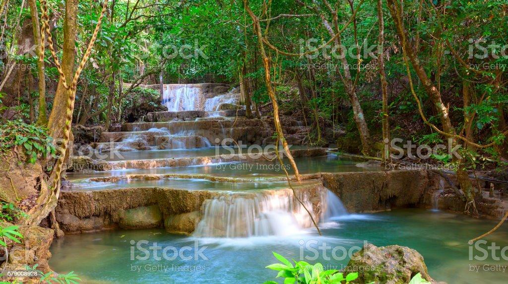 Waterfall at Kanchanaburi, Thailand stock photo