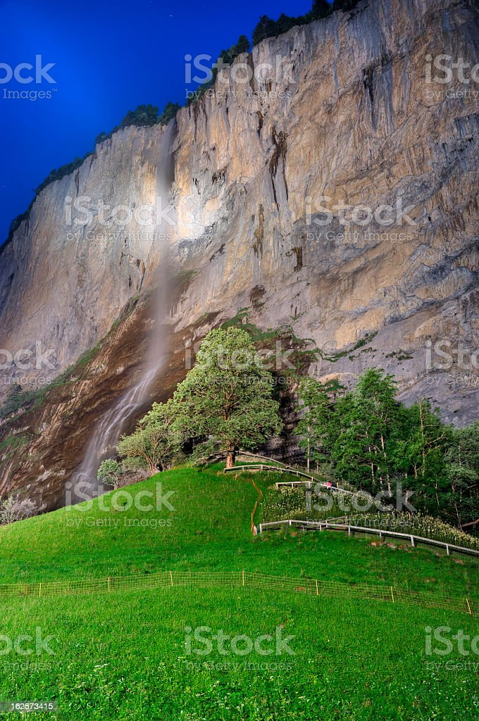 Waterfall at Lauterbrunnen in Twilight, Switzerland royalty-free stock photo