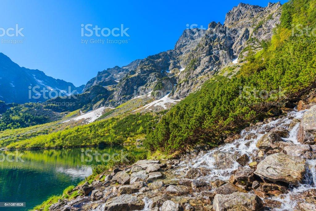 Waterfall at Morskie Oko lake in Tatra Mountains, Poland stock photo