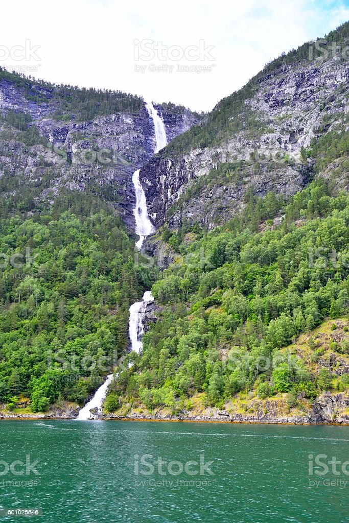 Waterfall at Naeroyfjord in Norway stock photo