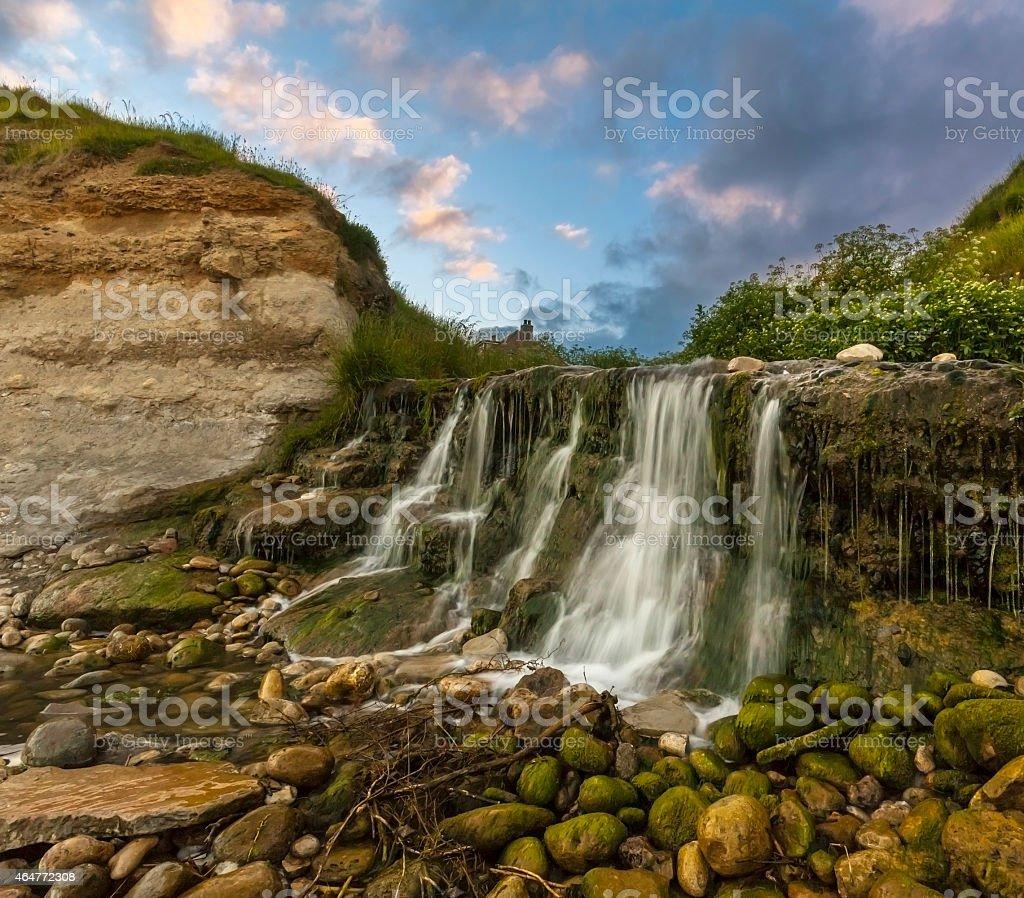 Waterfall at Osmington Mills in Dorset stock photo