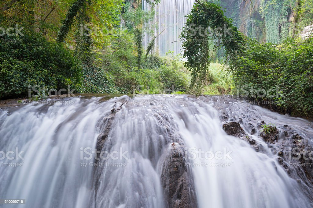 Waterfall at the 'Monasterio de Piedra' Natural Park, Zaragoza (Spain) stock photo
