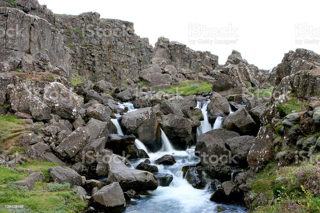 Waterfall at Thingvellir royalty-free stock photo