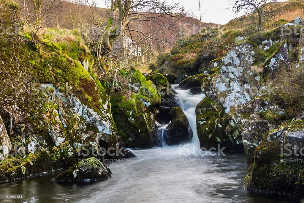 Waterfall at Watendlath Tarn stock photo