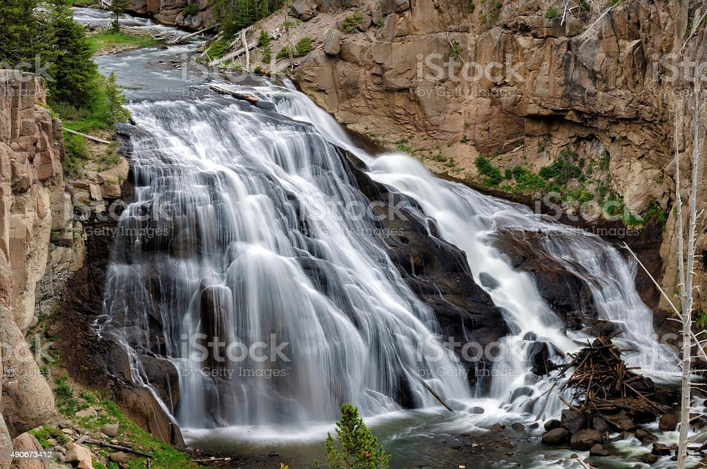 Waterfall at Yellowstone National Park, long exposition stock photo
