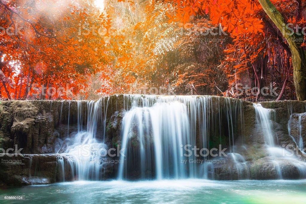 Waterfall autumn deep forest scenic natural sunlight stock photo