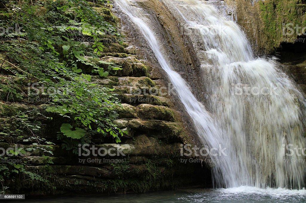 Waterfall. Beautiful waterfall landscape stock photo