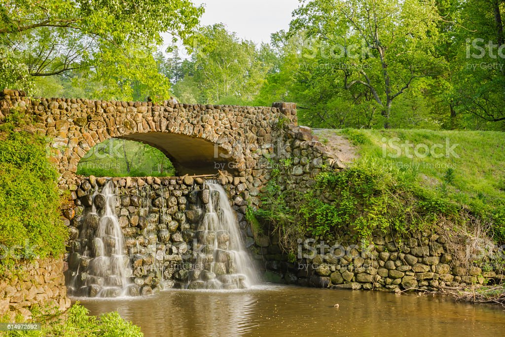 Waterfall Bridge at Reynolda Gardens stock photo