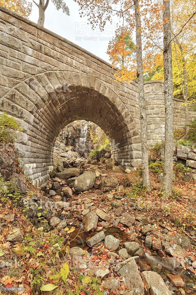 Waterfall Bridge, Autumn, Acadia National Park royalty-free stock photo