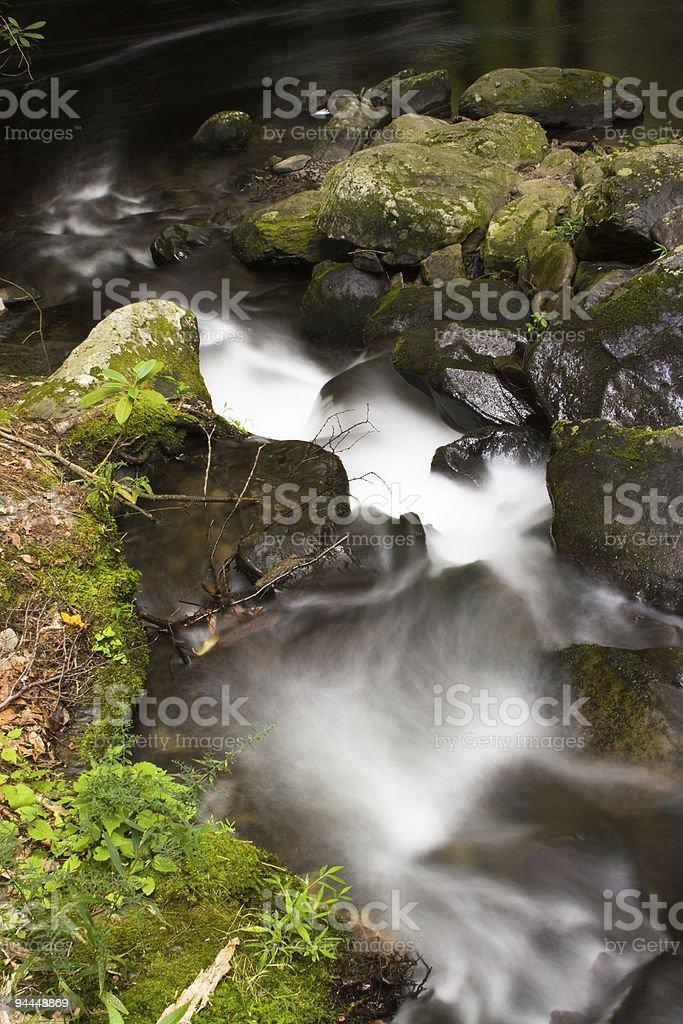 Waterfall: Bushkill Falls. Rapid on the mountain river. Long exposure. stock photo