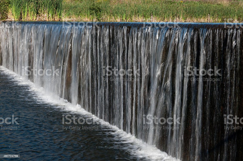 Waterfall by Mill Pond stock photo