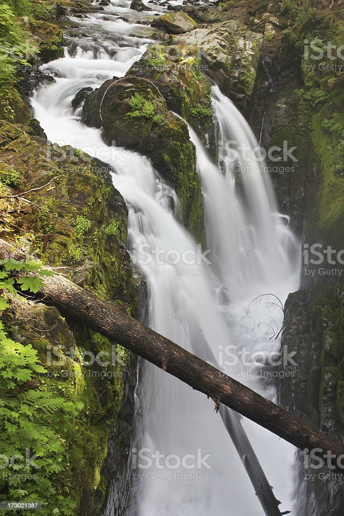 Waterfall Cascade Sol Duc Olympic Park stock photo
