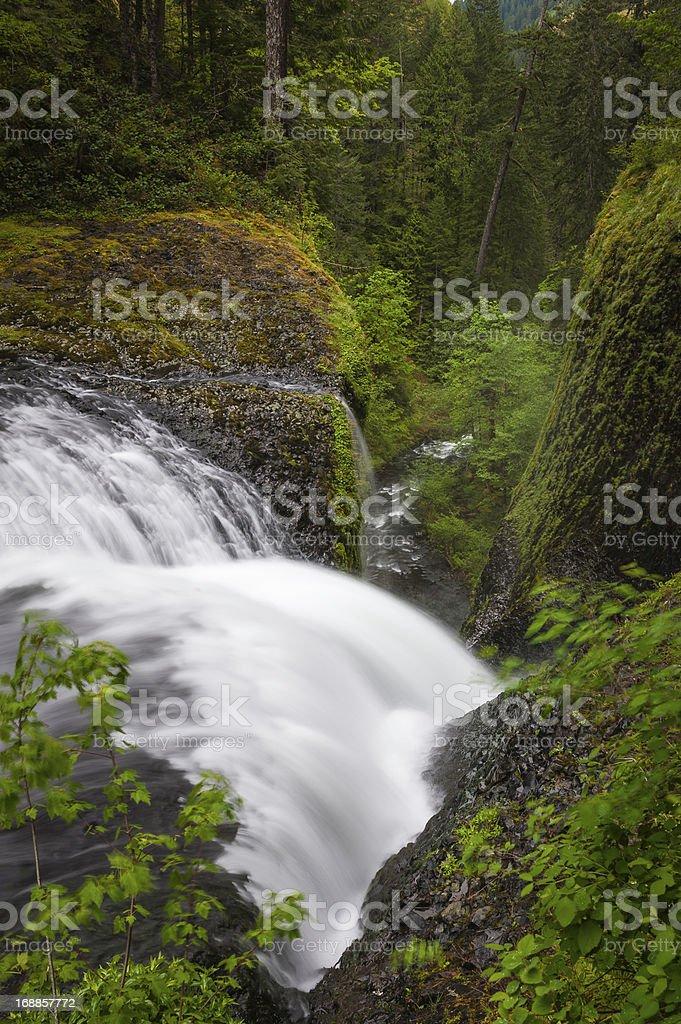 Waterfall cascading down narrow forest ravine wilderness stock photo