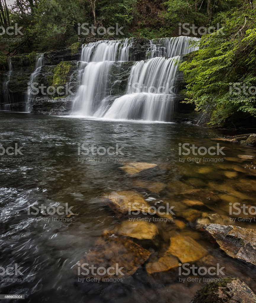 Waterfall country South Wales stock photo