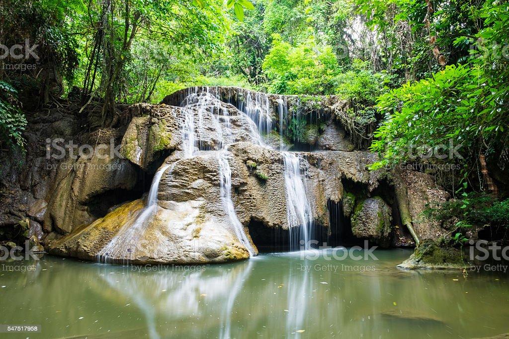 Waterfall deep forest scenic natural at huai mae khamin stock photo