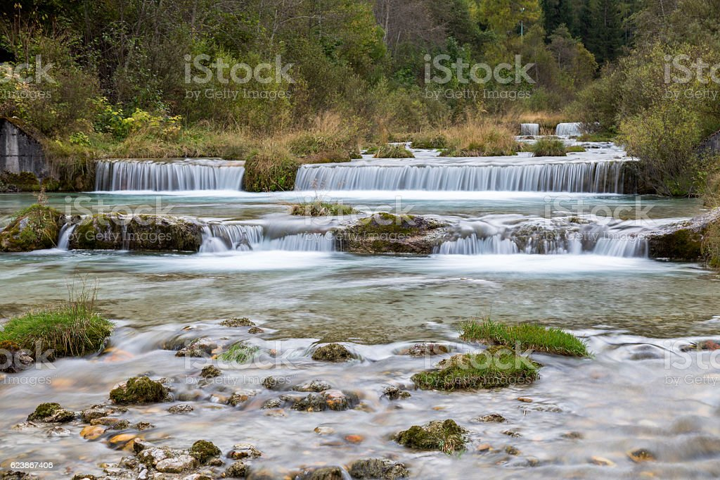 Waterfall, Dolomites, South Tyrol stock photo