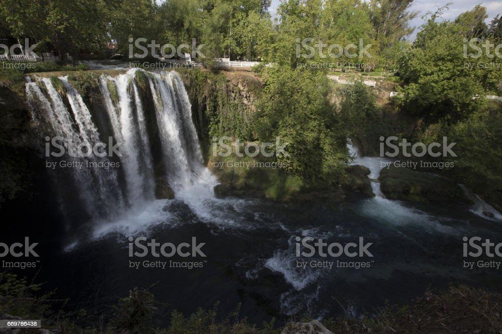 Waterfall Duden at Antalya, Turkey - nature travel background stock photo