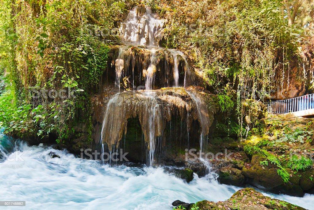 Waterfall Duden at Antalya Turkey stock photo