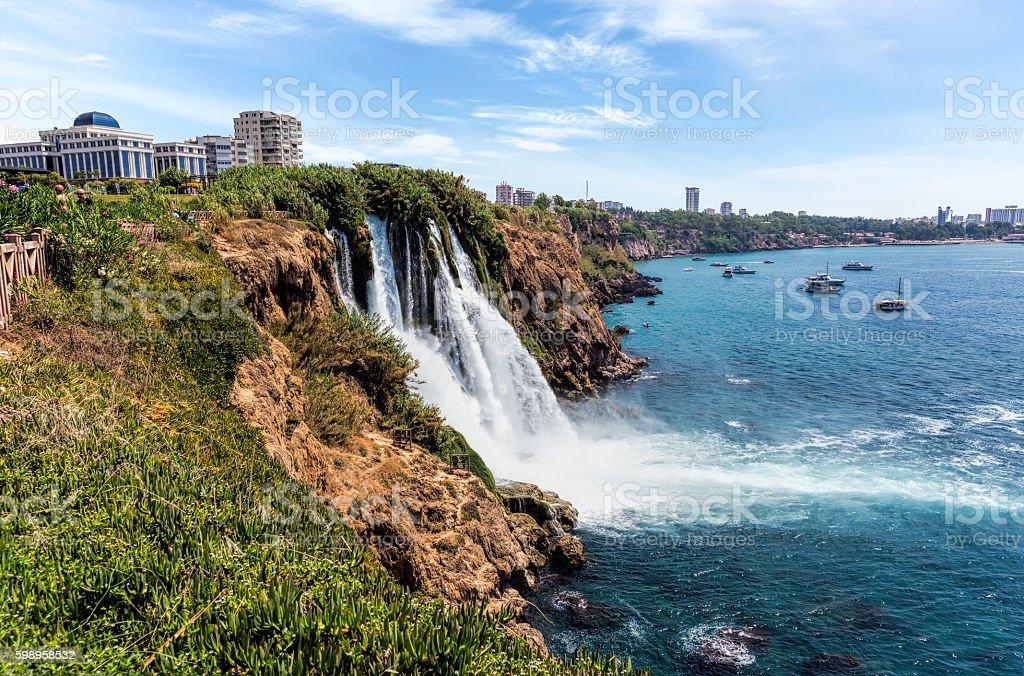 Waterfall Duden at Antalya, Turkey stock photo