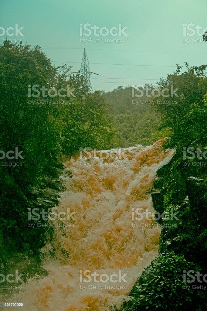 Waterfall during monsoon stock photo