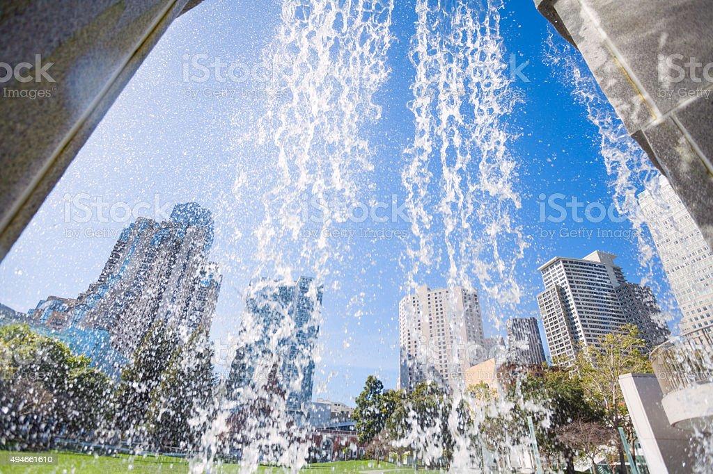 Waterfall fountain in Yerba Buena Gardens park stock photo
