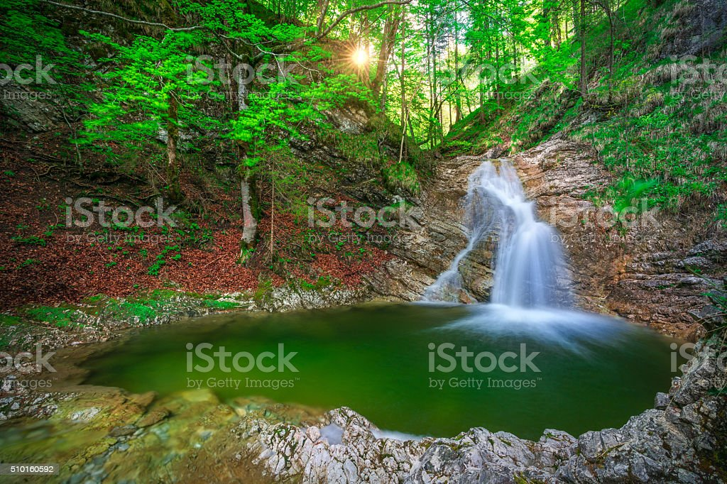 Waterfall Grattenbach stock photo