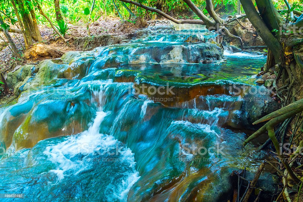 Waterfall Hot Spring stock photo